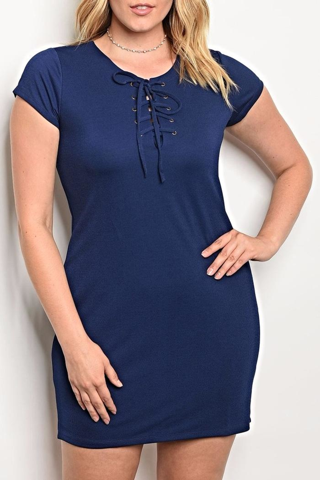 Persaya Lace Up Dress - Front Cropped Image
