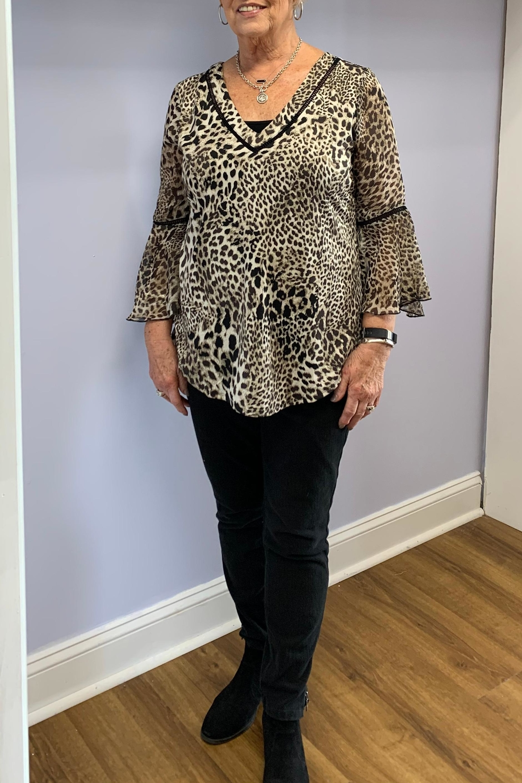 PerSeption Concept Leopard Print Blouse - Front Cropped Image