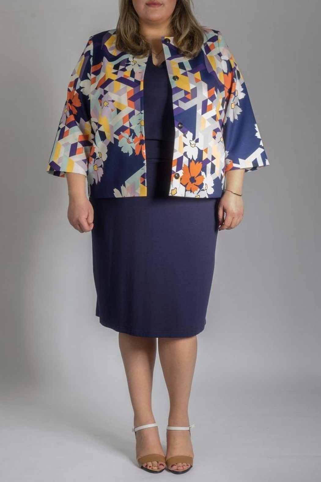 Persona by Marina Rinaldi Printed Short Coat - Back Cropped Image