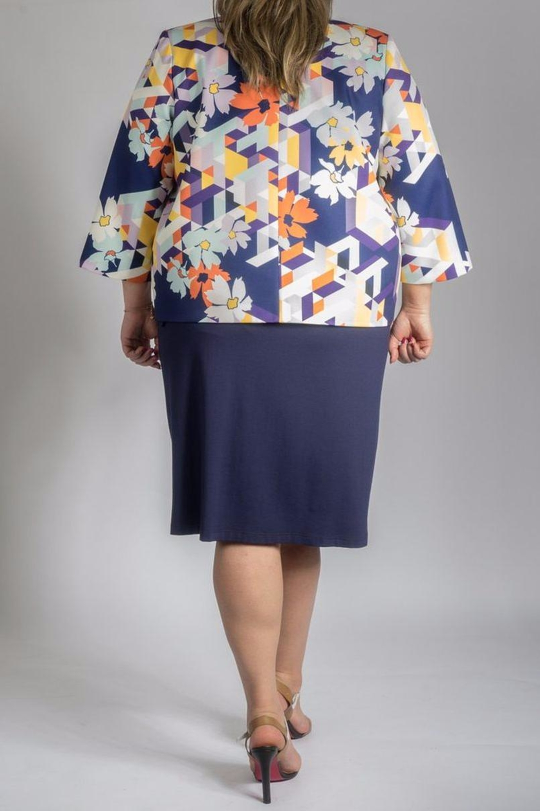 Persona by Marina Rinaldi Printed Short Coat - Side Cropped Image