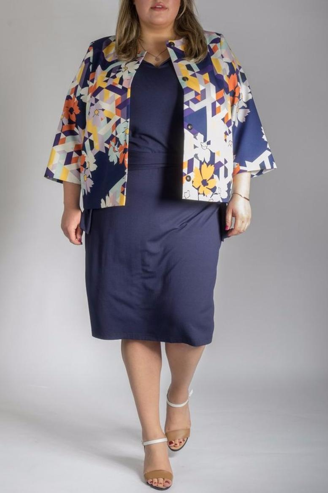 Persona by Marina Rinaldi Printed Short Coat - Front Cropped Image