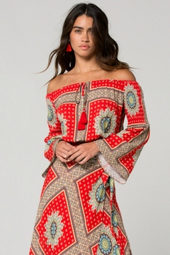 Band Of Gypsies Perth Off the Shoulder Medallion Scarf Print Top - Product List Image