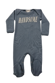 "Cotton Pompom The perfect footie with metallic ""handsome"" screen-print - Front cropped"