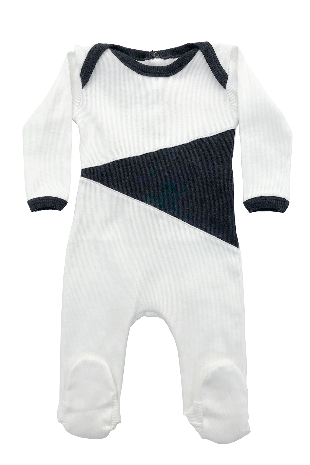 Cotton Pompom Peruvian Cotton Triangle Infant Ribbed Footie - Perfect Baby Gift - Front Cropped Image