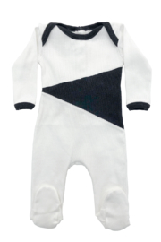 Cotton Pompom Peruvian Cotton Triangle Infant Ribbed Footie - Perfect Baby Gift - Front cropped