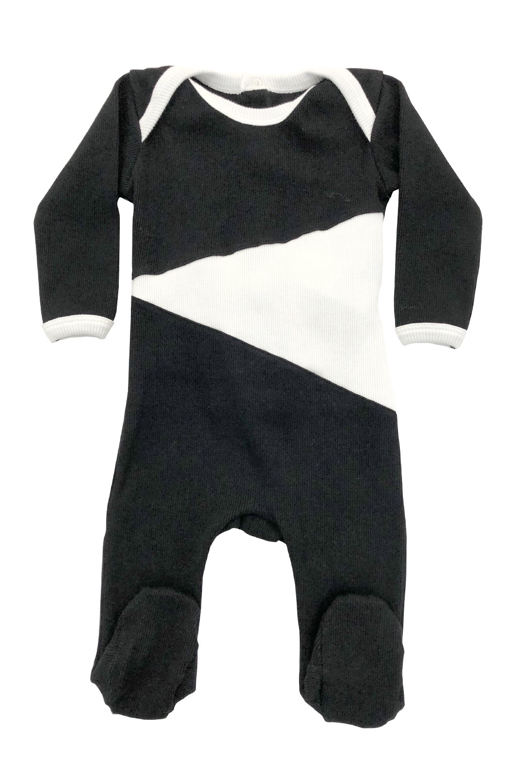 Cotton Pompom Peruvian Cotton Triangle Infant Ribbed Footie - Perfect Baby Gift - Main Image