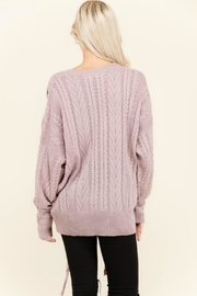 Petalroz Lace-Up Cable Sweater - Front full body