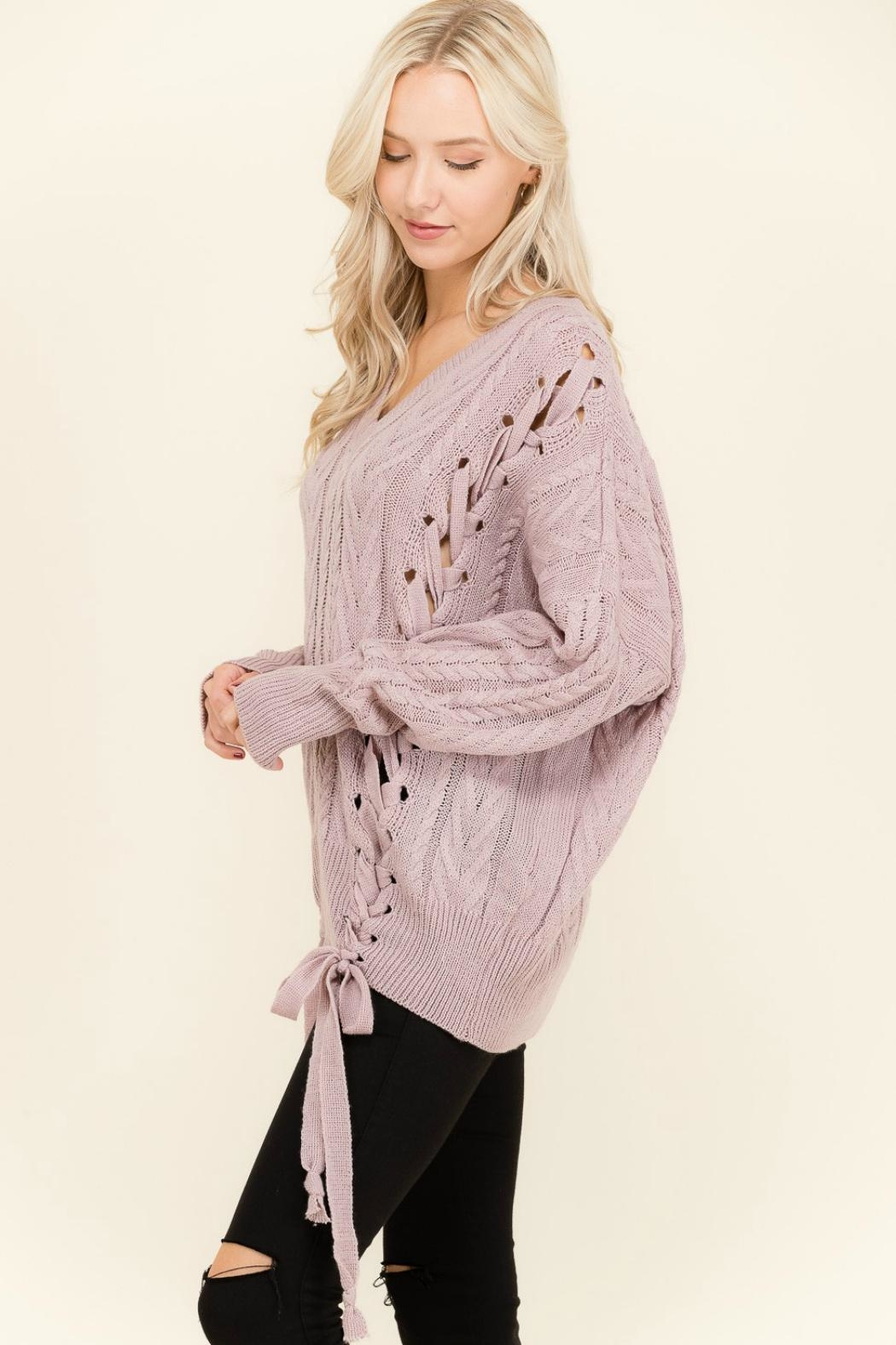 Petalroz Lace-Up Cable Sweater - Side Cropped Image
