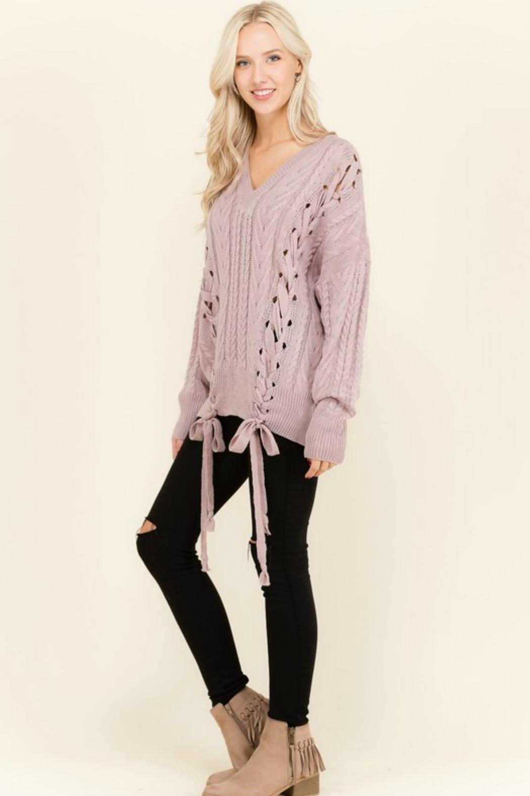 Petalroz Lace-Up Cable Sweater - Back Cropped Image
