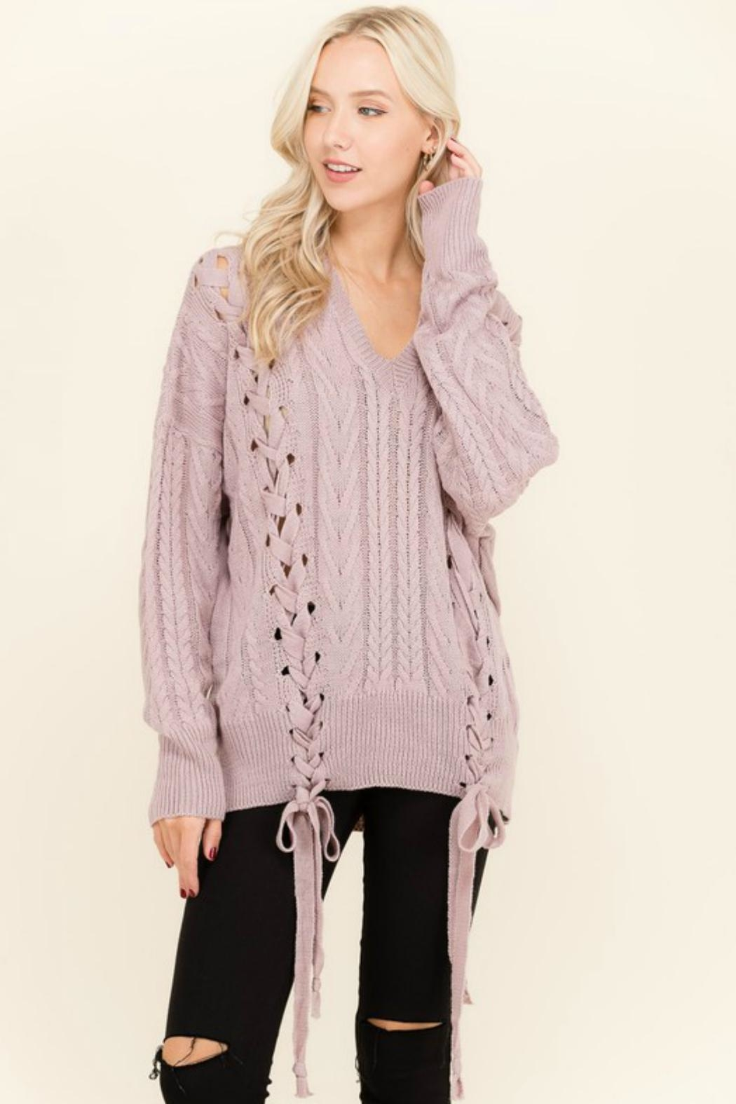 Petalroz Lace-Up Cable Sweater - Main Image