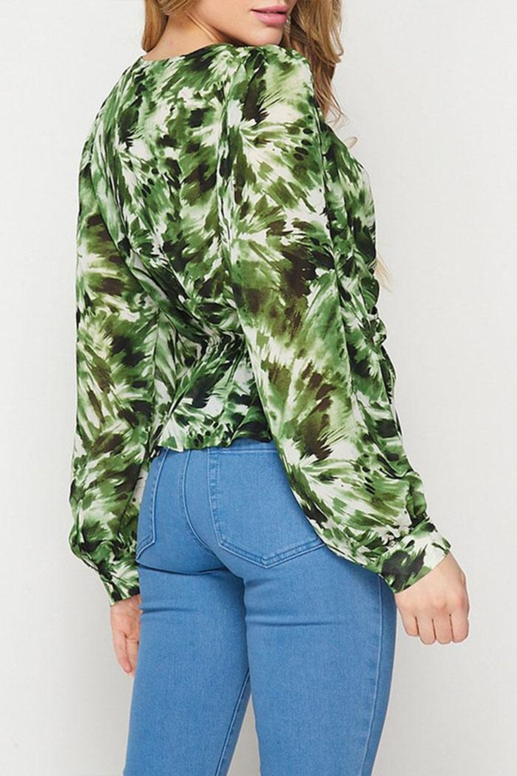 Petalroz Printed Knot Blouse - Back Cropped Image