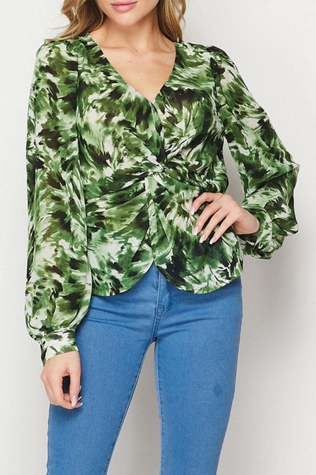 Petalroz Printed Knot Blouse - Side Cropped Image