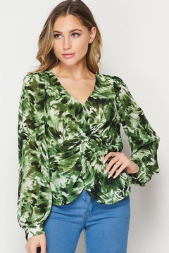 Petalroz Printed Knot Blouse - Product List Image
