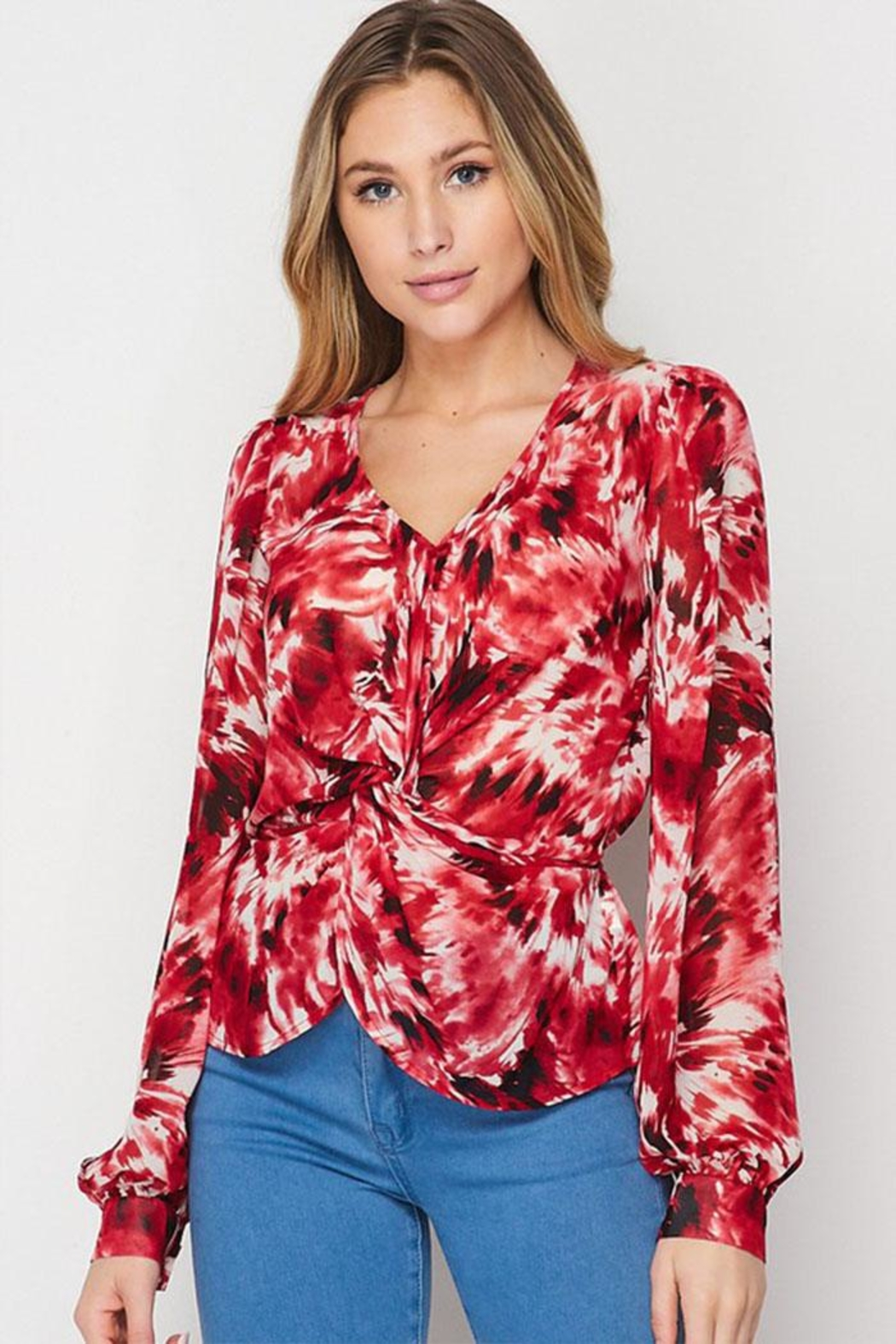 Petalroz Printed Knot Blouse - Front Cropped Image