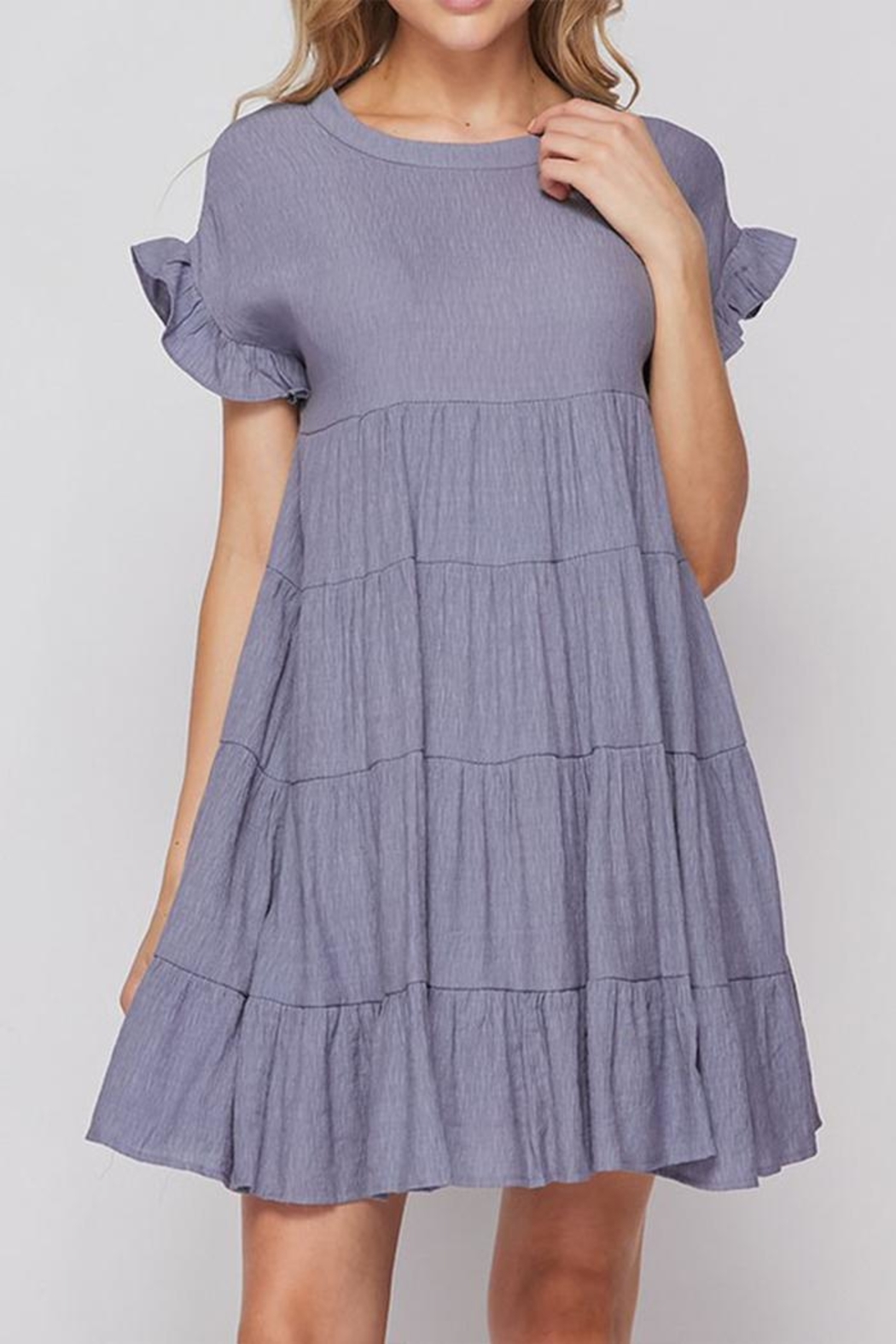 Petalroz Solid Layered Dress - Front Cropped Image