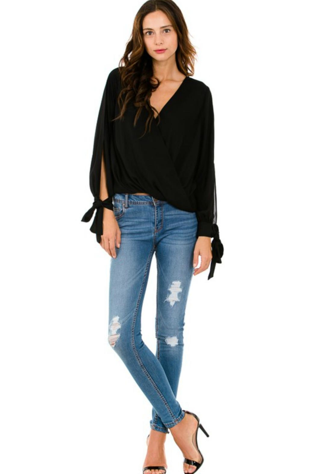 Petalroz Tie-Cuff Sleeve Blouse - Back Cropped Image