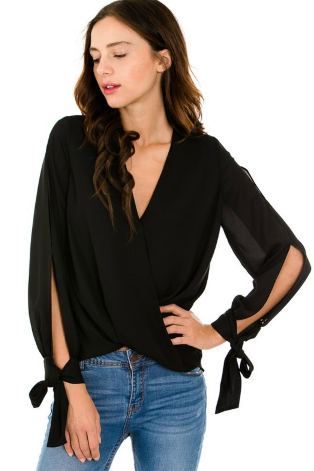 Petalroz Tie-Cuff Sleeve Blouse - Side Cropped Image