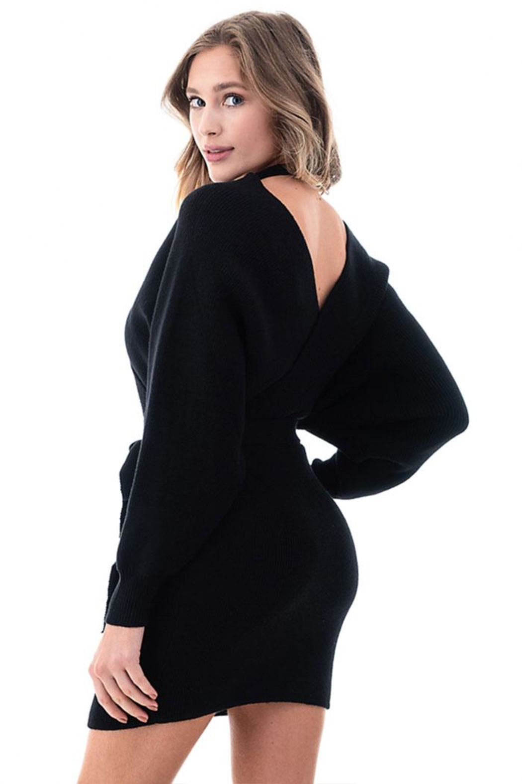 Petalroz V-Neck Sweater Dress - Side Cropped Image