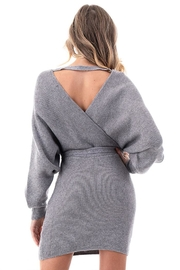 Petalroz V-Neck Sweater Dress - Back cropped