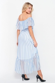 Petalroz Woven Striped Off Shoulder Maxi Dress - Other