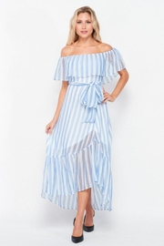 Petalroz Woven Striped Off Shoulder Maxi Dress - Front cropped