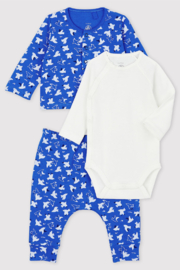 Petit Bateau  Baby Boy 3 Peice Set Long Sleeve Bodysuit With Bird Print Top & Pant - Product Mini Image
