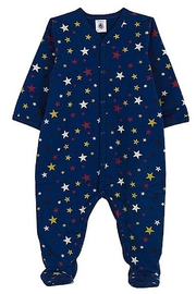 Petit Bateau  Baby Boy Front Snap Multi Star Print Footie - Product Mini Image