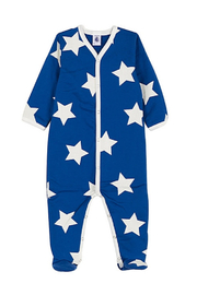Petit Bateau  Baby Boy Front Snap Star Print Footie - Front cropped