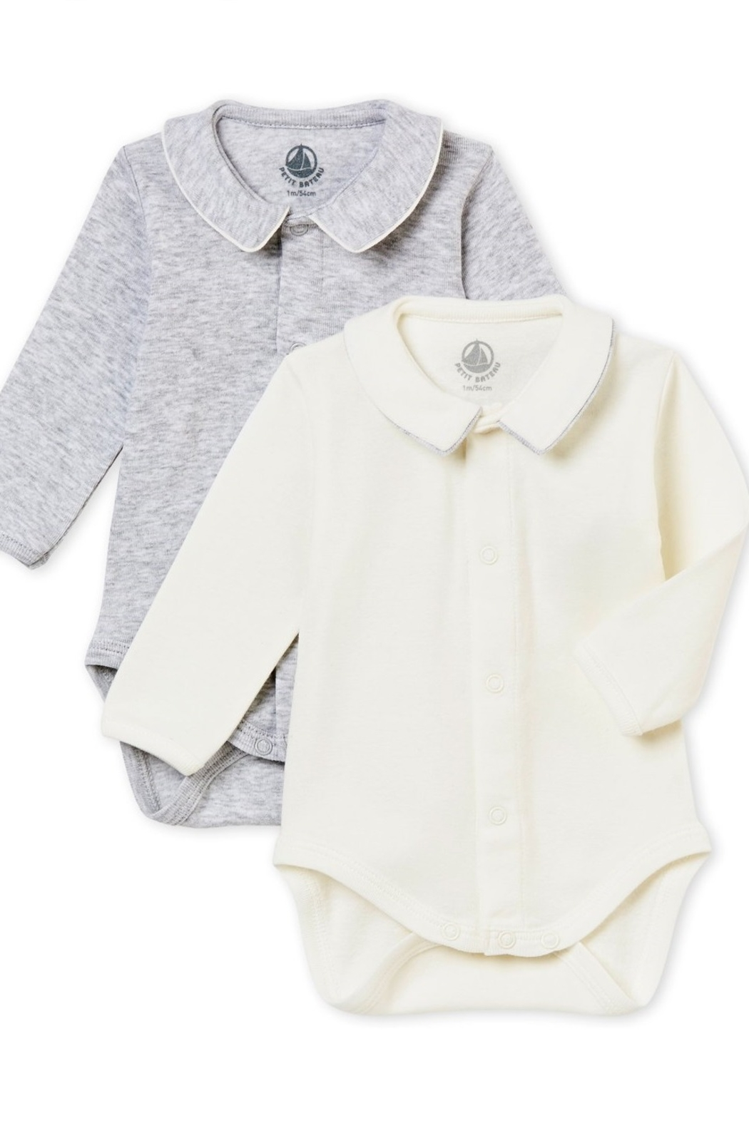 Petit Bateau Baby Boy Set of Long Sleeves Bodysuits with Collar - Main Image