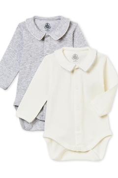 Petit Bateau Baby Boy Set of Long Sleeves Bodysuits with Collar - Alternate List Image