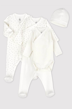 Petit Bateau  Baby First Days Kit Set Organic Cotton (Footie,Top,Bodysuit,Pant & Hat)| Baby Shower Gifting - Product List Image