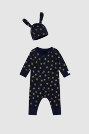 Petit Bateau Baby Gift Set - Unisex Romper and Beanie Hat (Navy) - Front cropped