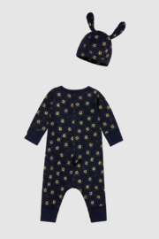 Petit Bateau Baby Gift Set - Unisex Romper and Beanie Hat (Navy) - Front full body