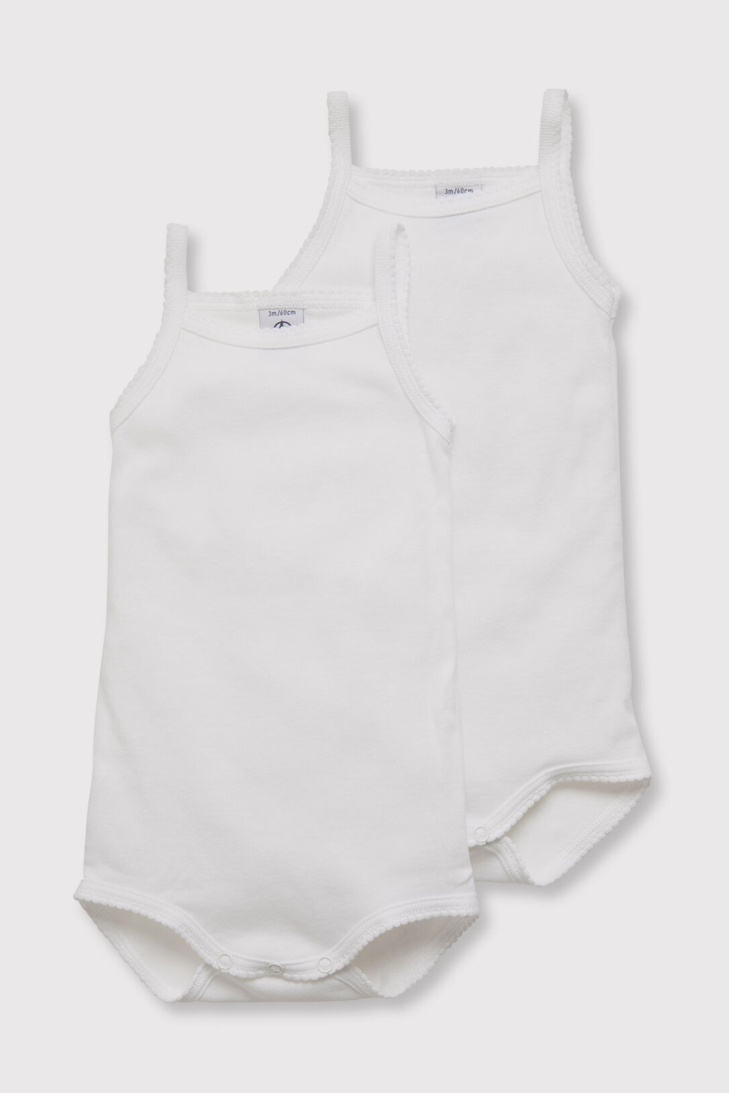 Petit Bateau Baby Girl Bodysuit With Shoulder Pads (Pack Of 2) - Main Image