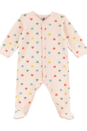 Petit Bateau  Baby Girl Velour Front Snap Multi Hearts Footie - Front cropped