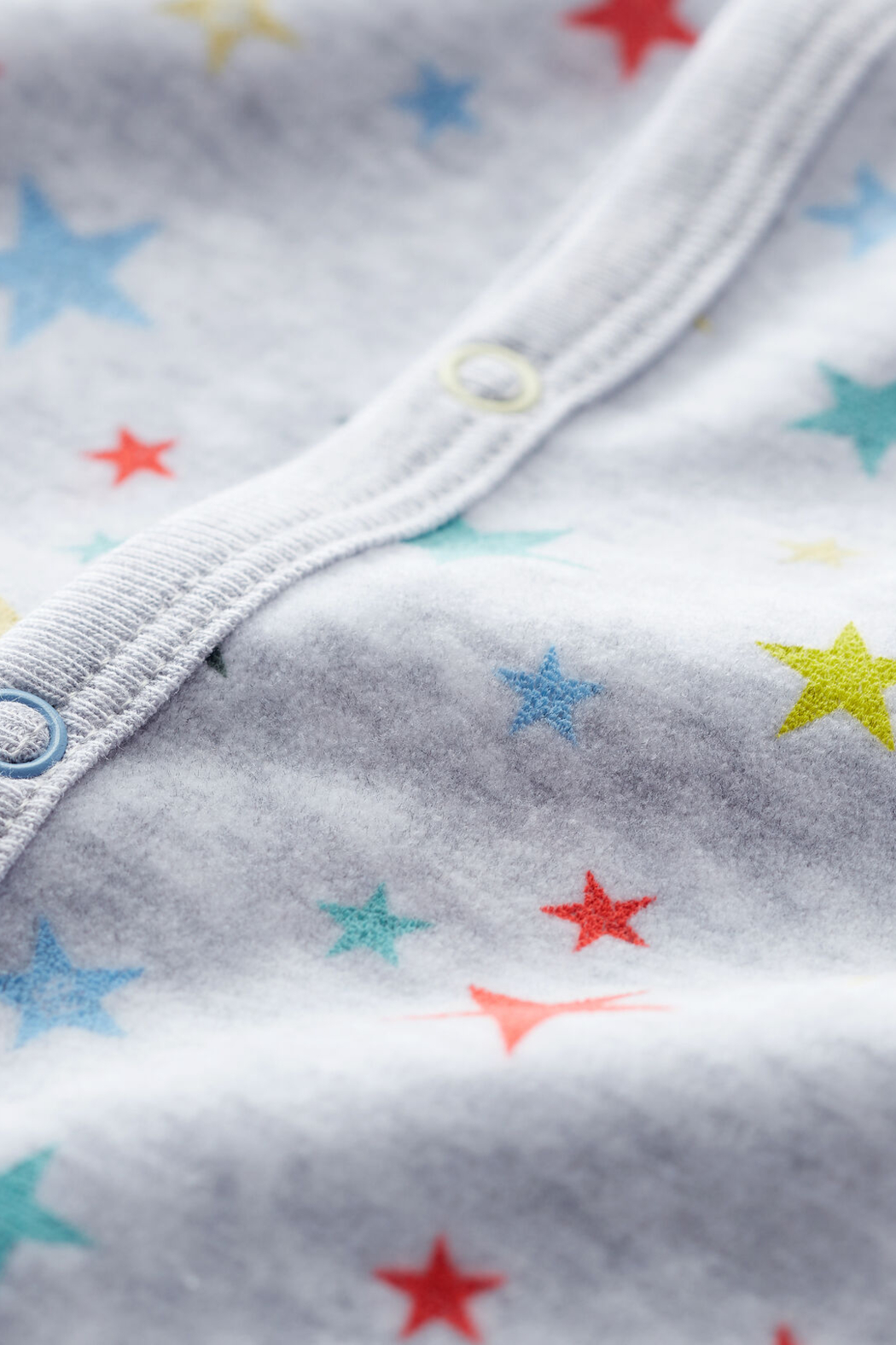 Petit Bateau Baby Onesie Footie Mottled Gray With Stars In Chenille - Side Cropped Image