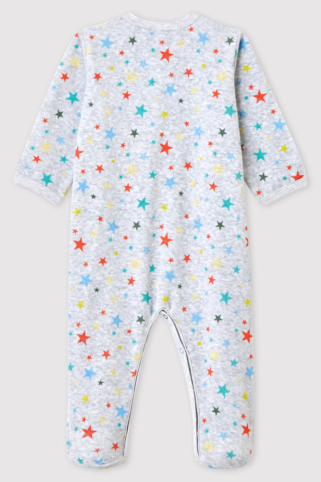 Petit Bateau Baby Onesie Footie Mottled Gray With Stars In Chenille - Front Full Image