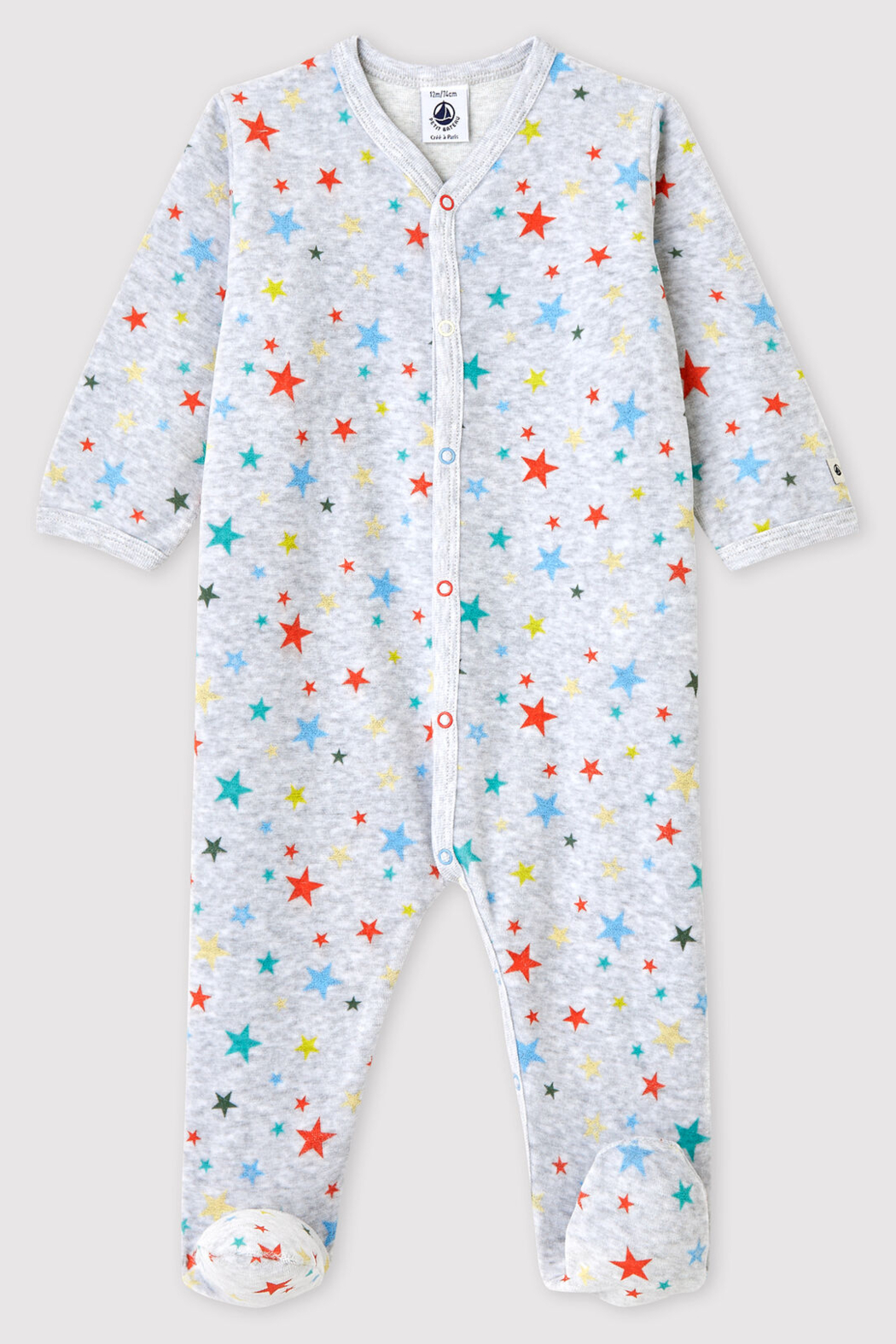 Petit Bateau Baby Onesie Footie Mottled Gray With Stars In Chenille - Main Image