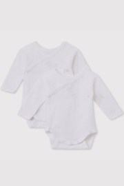 Petit Bateau Baby Organic Cotton Crossed Long Sleeve Bodysuit (Pack of 2) - Front cropped
