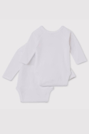 Petit Bateau Baby Organic Cotton Crossed Long Sleeve Bodysuit (Pack of 2) - Front full body