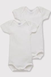Petit Bateau Baby Organic Cotton White Short Sleeve Bodysuits (Pack Of 2) - Front cropped
