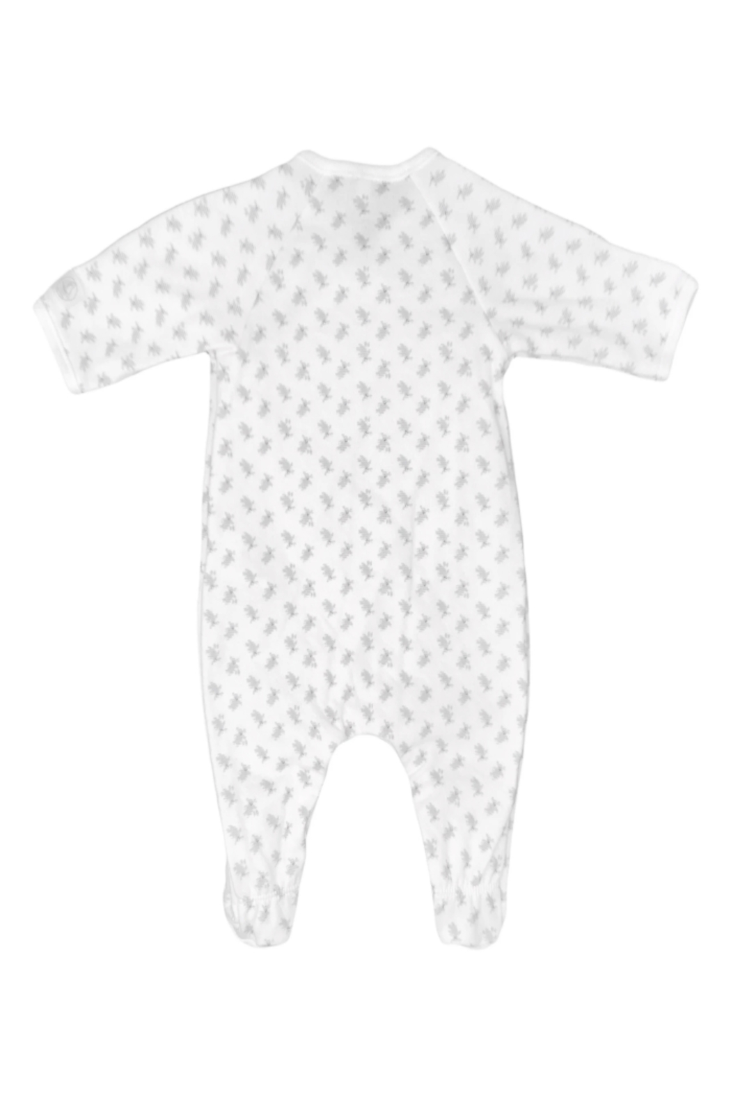 Petit Bateau  Baby Side Snap Bunny Print Footie - Front Full Image