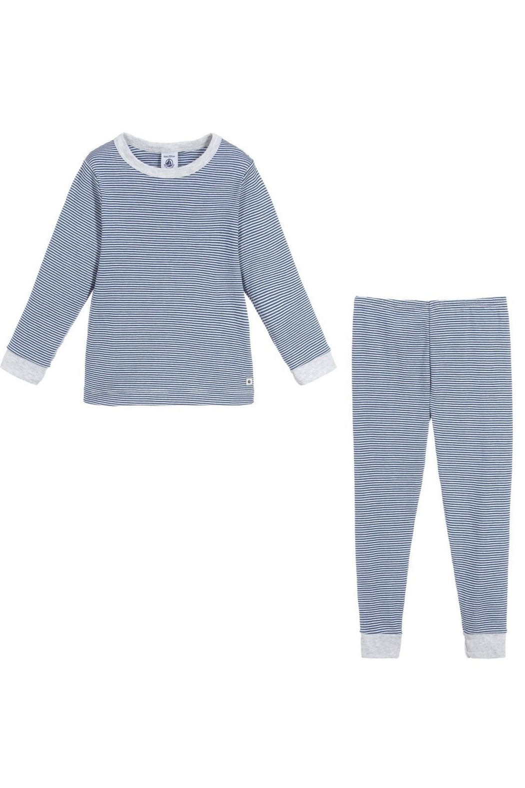 Petit Bateau Boys Pajamas - Milleraies striped knit - Side Cropped Image