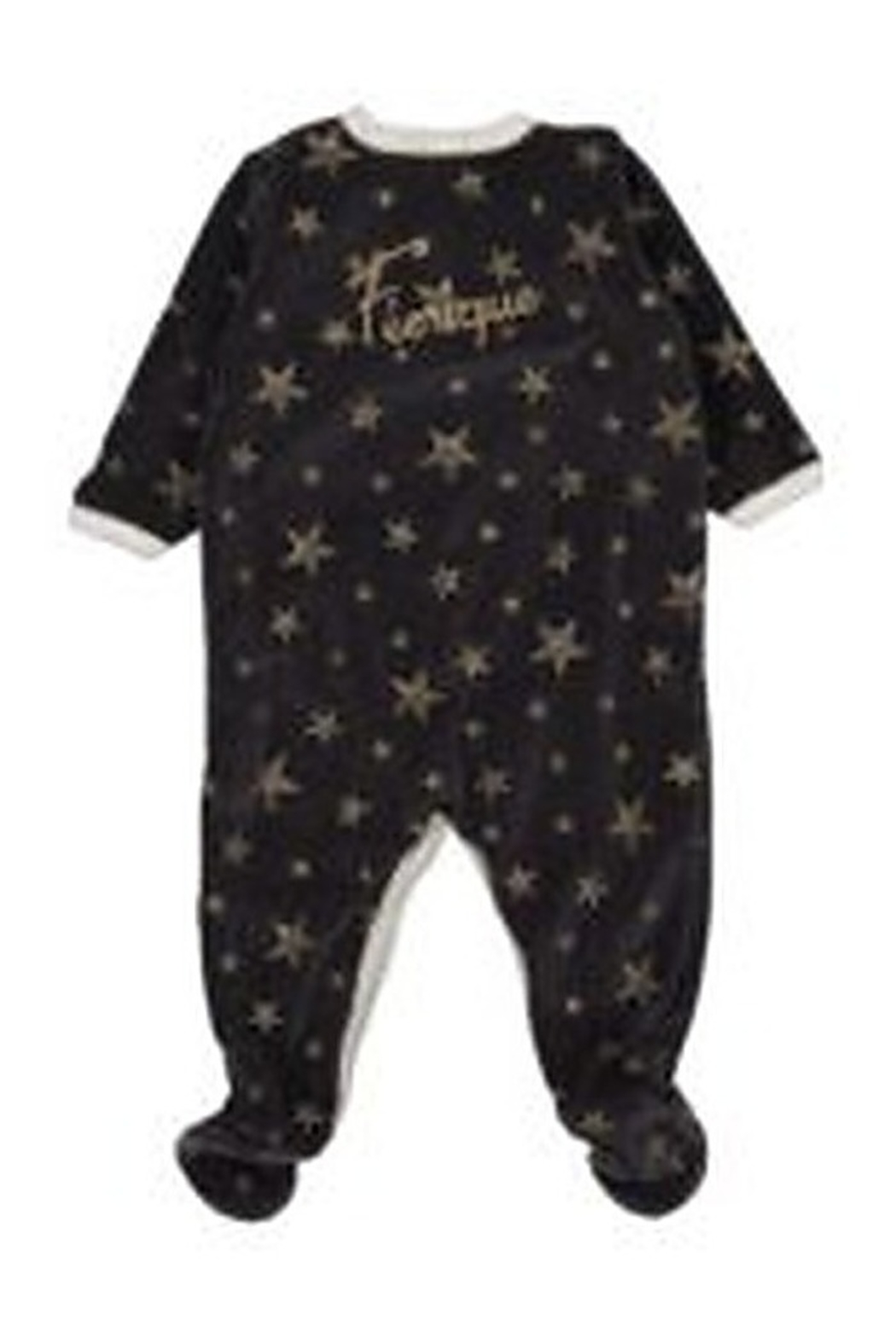 Petit Bateau  Charcoal Gold Stars Front Snap Footie - Front Full Image