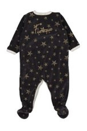 Petit Bateau  Charcoal Gold Stars Front Snap Footie - Front full body