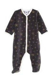 Petit Bateau  Charcoal Gold Stars Front Snap Footie - Product Mini Image