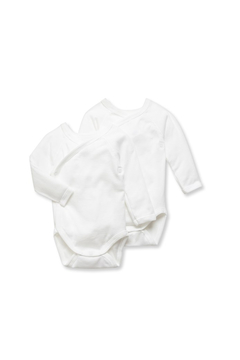 Petit Bateau PETIT BATEAU DOUBLE PACK UNISEX NEWBORN BABY PLAIN LONG-SLEEVE BODYSUITS - Alternate List Image