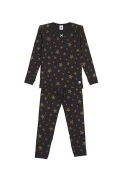 Shoptiques Product: Petit Bateau Girls Black 2 Piece Set Pajamas with Gold Lurex Stars Sizes 2-12 Style 51121