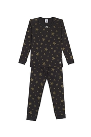 Petit Bateau  Girls Black 2 Piece Set Pajamas with Gold Lurex Stars Sizes 2-12 Style 51121 - Product Mini Image
