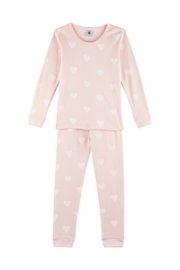 Petit Bateau Long Sleeve Heart Print Top And Pants Lounge wear For Girls - Front cropped